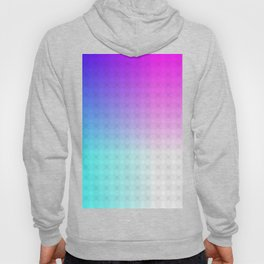 Cyan Blue Purple and White Ombre Circle Grid Hoody