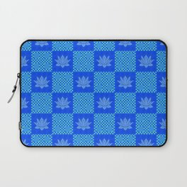 Retro Blue Lotus Checkerboard Laptop Sleeve