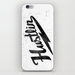 Hustlin - White Background with Black Image iPhone Skin