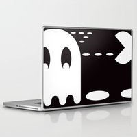 pac man Laptop & iPad Skins featuring PAC MAN by MISTER BLACKWHITE