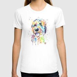 Goldendoodle, Golden Doodle Watercolor Pet Portrait Painting T-shirt