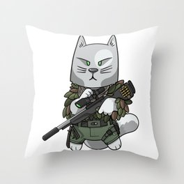 Sniper Cat - Soldier cat lover gift ideas Throw Pillow