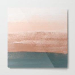 Desert Dream Waves_ Teal Green & Pink_ brush strokes abstract painting Metal Print