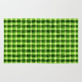 Lime Green and Yellow Gingham Faux Velvet Rug
