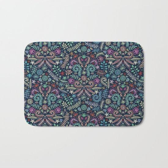 Colored Chalk Floral Doodle Pattern Bath Mat