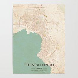 Thessaloniki, Greece - Vintage Map Poster