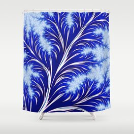 Abstract Blue Christmas Tree Branch with White Snowflakes Shower Curtain