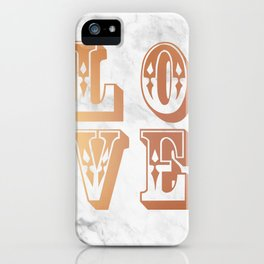 Rose Gold Marble Love Circus Typography Print iPhone Case