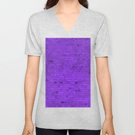 Bright Neon Purple Brick Wall Unisex V-Neck