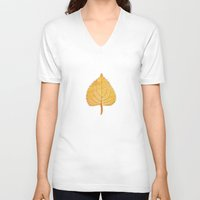 lonely V-neck T-shirts featuring Lonely Leaf by Klara Acel