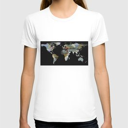 World Map Silhouette - Women and Sailboats T-shirt