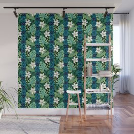 Tropical White Flowers Wall Mural