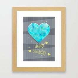 Birthstones October Blue Opal Heart Shaped Birthday Framed Art Print
