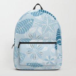Blue Tropical Leaf Floral Pattern Backpack