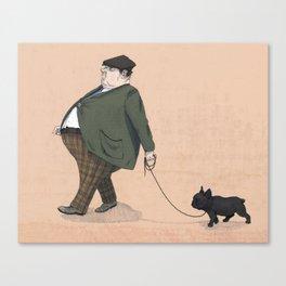 A Man with a Dog Canvas Print