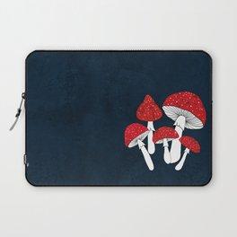 Red mushrooms field on navy blue Laptop Sleeve
