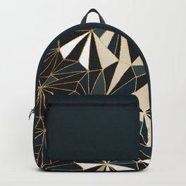 New Art Deco Geometric Pattern - Emerald green and Gold Backpack