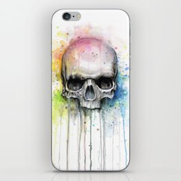Skull Rainbow Watercolor iPhone Skin
