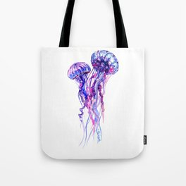 Jellyfish, purple blue sea world design elegant Tote Bag