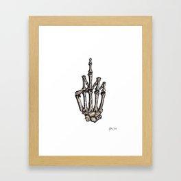 Middle Finger Skeleton Framed Art Print