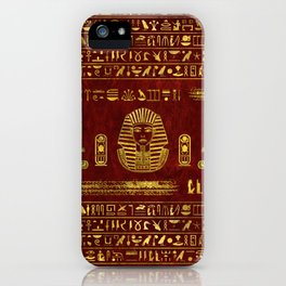 Golden Egyptian Sphinx on red leather iPhone Case