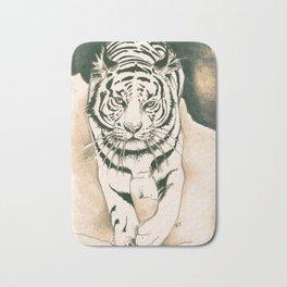 White Tiger Sepia Litograph Style Bath Mat