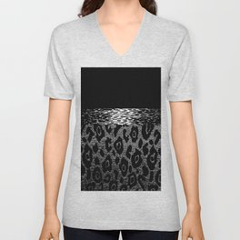ANIMAL PRINT CHEETAH LEOPARD BLACK WHITE AND SILVERY GRAY Unisex V-Neck