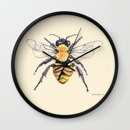Watercolor Bee Wall Clock