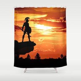 Spartan Warrior Cliff Shower Curtain