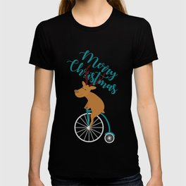 Mr Reindeer having Fun with his Penny-farthing Bicycle T-shirt