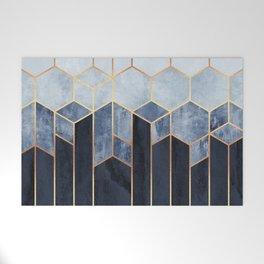 Soft Blue Hexagons Welcome Mat