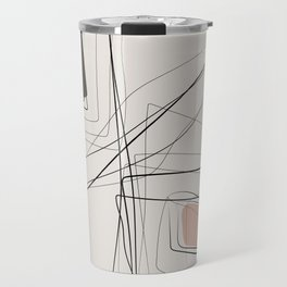 Blush Black Abstract Line drawing-6, Pastel earth colors, Minimal geometric abstraction Travel Mug