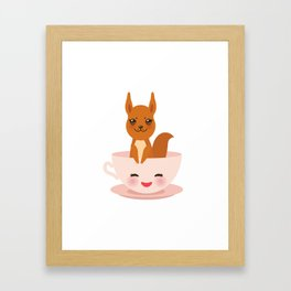 Cute Kawai pink cup with red squirrel Framed Art Print