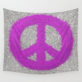 Fuchsia Splat Painted Peace Sign Wall Tapestry
