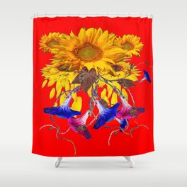 Morning Glories, Sunflowers Red Abstract Shower Curtain