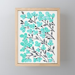 Cherry Blossoms – Turquoise & Black Palette Framed Mini Art Print