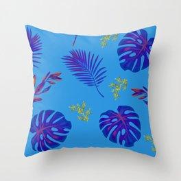 Beautiful Blue Floral Design Print Throw Pillow