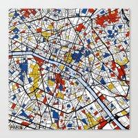 paris Canvas Prints featuring Paris by Mondrian Maps