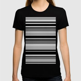 Mixed Striped Design Monochrome T-shirt