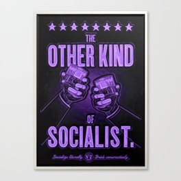 """Vintage """"The Other Kind of Socialist"""" Alcoholic Lithograph Advertisement in vivid purple Canvas Print"""