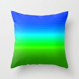 Blue Sky Green Grass Deconstructed (blue to green ombre gradient) Throw Pillow