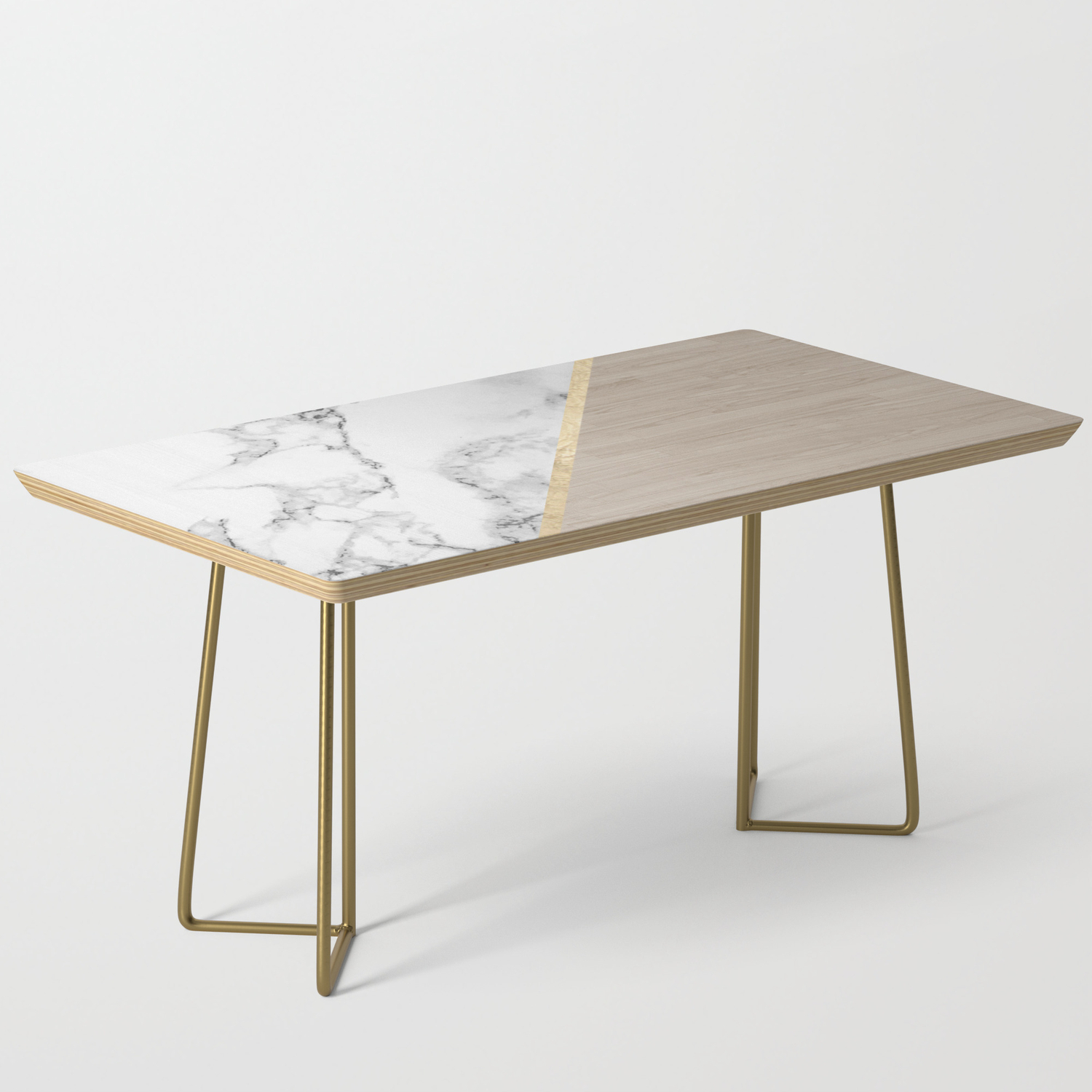 Modern White Marble Gold Stripe Wood Color Block Coffee Table By Ytrend