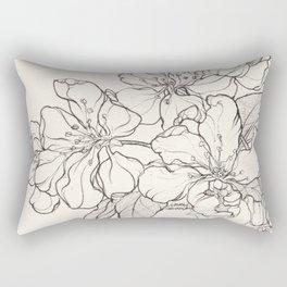Flowering Tree Ink Illustration Rectangular Pillow