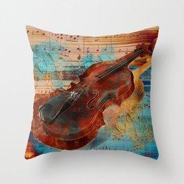 Violin Art Collage - mixed media Throw Pillow