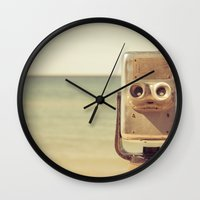robot Wall Clocks featuring Robot Head by Olivia Joy StClaire