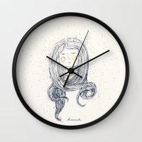 hug Wall Clocks featuring Hug by huemula