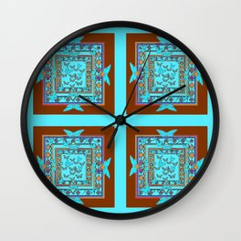 Western Coffee Brown Turquoise Butterfly Art Wall Clock