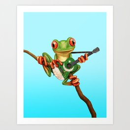 Tree Frog Playing Acoustic Guitar with Flag of Pakistan Art Print