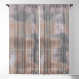 Copper and Iron abstract pattern Sheer Curtain