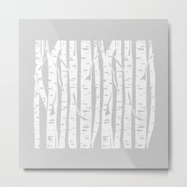 Woodcut Birches Grey Metal Print